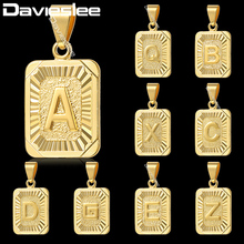 Davieslee Gold Filled Charm Pendant Capital Initial Letter Fashion Design Mens Womens Chain Necklace GP57-61(China)