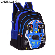 CHUNLONG 3D racing children printed backpacks cartoon car Lightweight school bags for boys girls Travel backpack school bag(China)