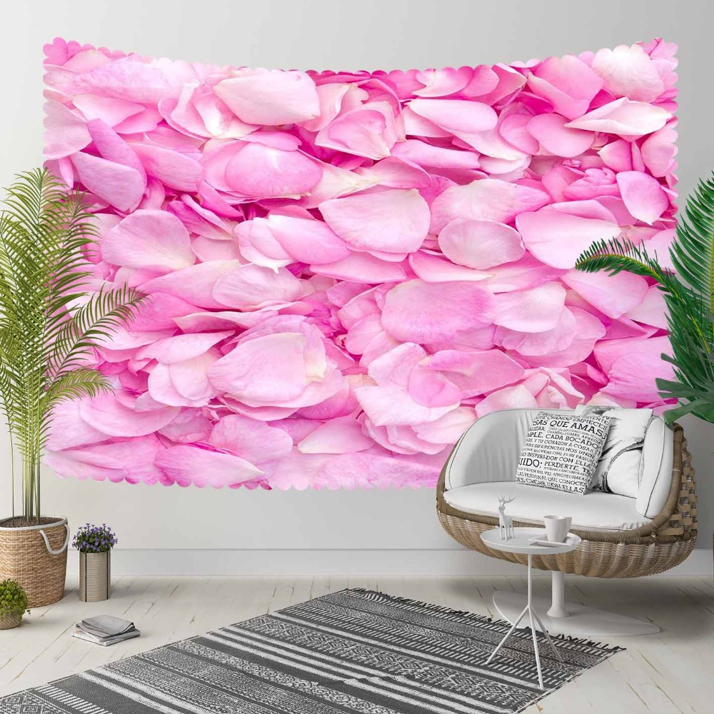 Tapestry Wall Hanging Decorative Landscape Bohemian Floral White Pink Flowers Leaves title=
