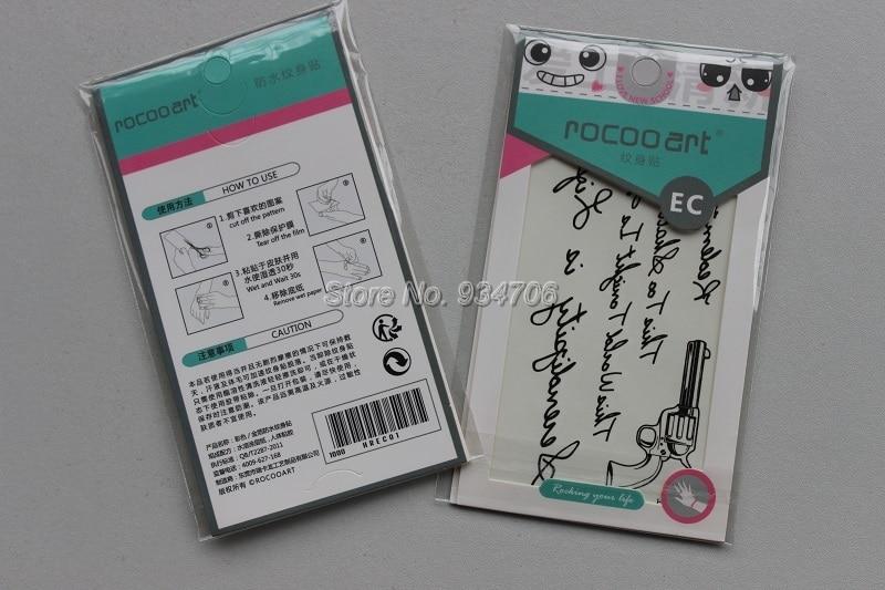 Rocooart HC151-175 Waterproof Fake Tattoo Styling Tools Stickers Snake Pistol Black Feather Temporary Tattoos Body Art Tattoo 33
