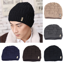 Men's Fashion Winter Beanies Bonnet Knitted Hat Soft Solid Braid Warm Cap(China)