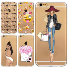 Case For Apple iPhone 6 6s Soft Silicone Transparent Perfume Kardashian Emoji Shopping Girls Phone Cover Back Capa Coque Fundas