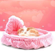 1 Pc Luxury Princess Cat Bed Puppy Bed Sofa Purple Pink Lace Cat House Small Dog Kennel Warm Soft Fleece New Pet Product(China)