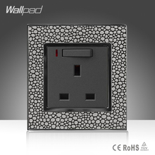 Wholesale Price Wallpad Luxury Leather Material Frame UK 13A 1 Gang 3 pin Switch Socket with LED Neon Indicator(China)