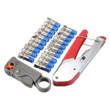 22pc/set Coaxial Crimping Tool Kit Squeeze Clamp Pliers + Cable Stripper + 20 F-Type Heads Electrician RG Connectors