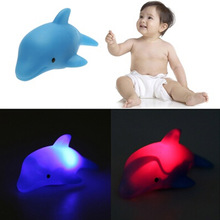 Cute Dolphin Shape Children Swiming Water Toys Baby Bath Toy Colorful LED Flashing Lamp Change For Children(China)