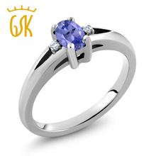 GemStoneKing 1/2 Ct Stunning Oval Natural Blue Tanzanite Fine Jewelry 925 Sterling Silver Simple Elegant Ring For Women(China)