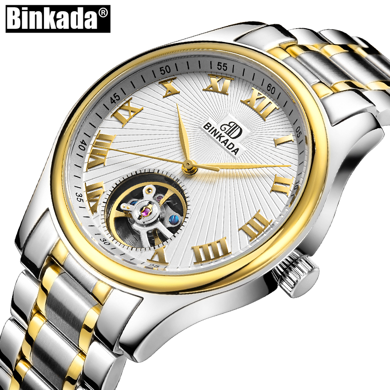 Skeleton Tourbillon Mens Watch Relogio Masculino Luxury Brand BINKADA Men Watch Automatic Mechanical Watch Fashion Sport Watches<br>