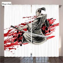 Curtains Japan Living Room Samurai Warriors Soldier Oriental Eastern Japanese Sword Katana Blood Bedroom White 290x265 cm home
