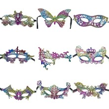 1 Pcs Sexy Halloween Colorful Lace Goggles Nightclub Fashion Queen Female Sex Eye Masks For Masquerade Party Masks Ball Mask(China)