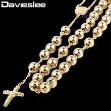 Davieslee 4/6/8/10mm Mens Black Chain Stainless Steel Bead Chain Rosary Jesus Christ Cross Pendant Long Necklacce DLKN375-377(China)