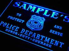 tk-tm Name Personalized Custom Police Station Badge Bar Beer Neon Sign with On/Off Switch 7 Colors 4 Sizes