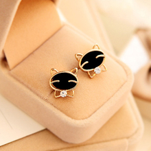 Charming Jewelry Accessories Color Black Smiley Cat Exquisite 1 Pair Woman Ear Stud EAR-0366(China)