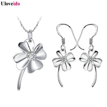 Uloveido Wedding Accessories Necklace Bride Silver Jewelry Sets Purple Flowers Bridal Jewerly Sets for Women Crystal Gifts T014