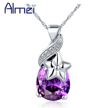 Almei Wholesale Price 10*22mm Silver Necklace CZ Zircon Fashion Red/Purple Color Water Drop Crystal With Stars For Girls N846