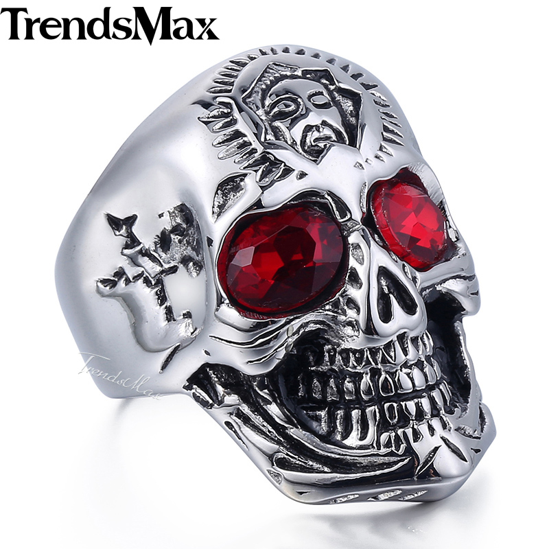 Trendsmax Mens Ring Punk Jewelry 316L Stainless Steel USA American Flag Skull Band Ring Red Rhinestones HR398