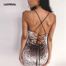 LASPERAL 2018 New Lace Up Velvet Party Dress Women Dress Backless Sexy Dress Retro Dress Pencil Skater Bodycon Evening Vestidos(China)