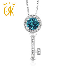 GemStoneKing 1.12 Ct Round Natural London Blue Topaz 925 Sterling Silver Key Pendant Necklace For Women(China)