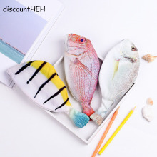Creative Kawaii Korea Style Cloth Pencils Bags School Supplies Stationery Hot Pen Box Gift Fish Shape Pencil Case(China)