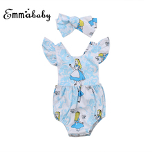 Emmababy Sweet Newborn Baby Girls Romper Ruffles Sleeve Jumpsuit +Headband Clothes Cotton Blue Outfits Baby Clothing