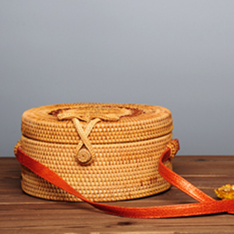 Women Straw Bags Female Round Beach Bag Knitted Lady Bohemian Vintage Rattan Shoulder Bag Handmade INS Popular Weave Bag SS3125 (8)