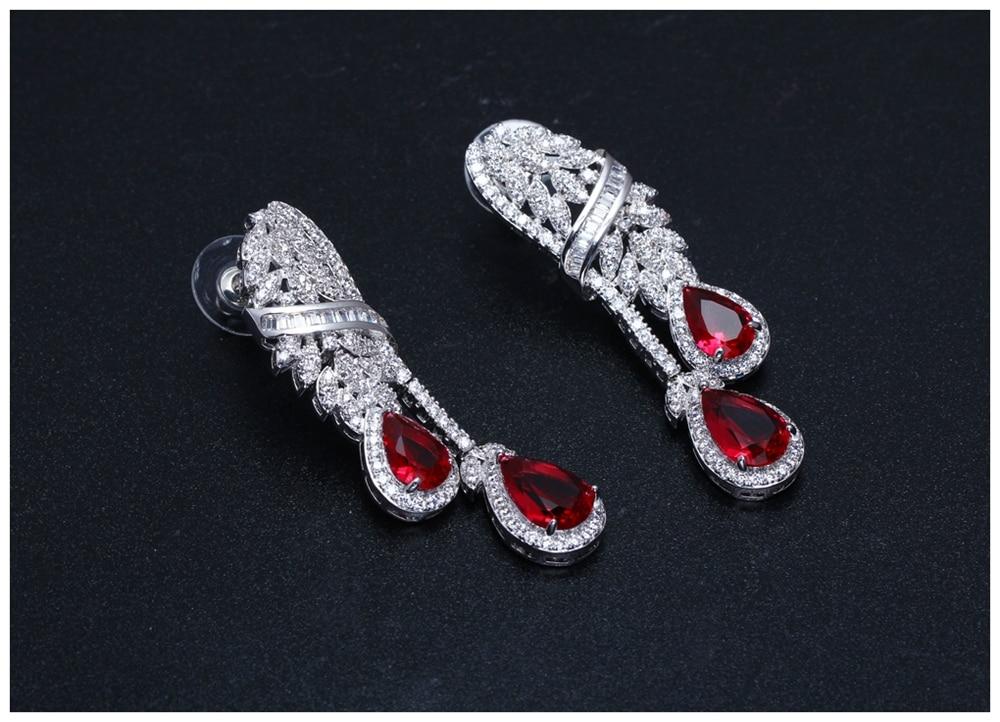 Red drop jewellery set SN04156SI (5)