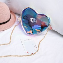 AEQUEEN Jelly Laser Shoulder Bag 3D Love Heart Chain Women Small Crossbody Purse Girls Cute Day Clutch Moblie Phone Bag Mini New(China)