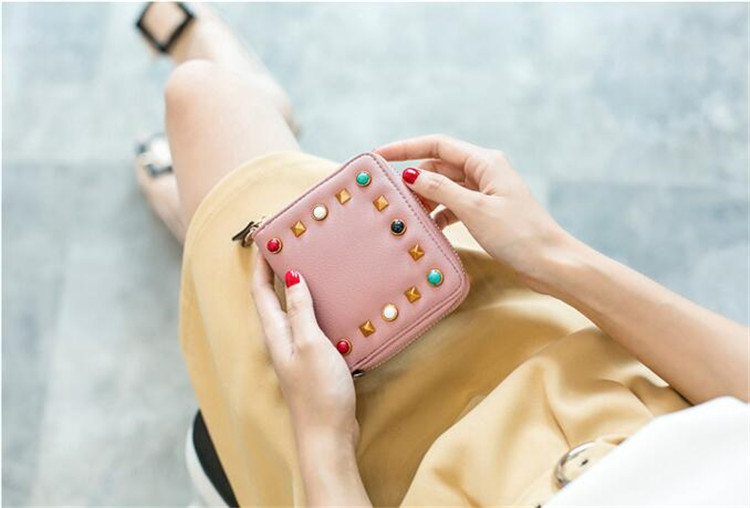 MJ Women Wallets Fashion Colorful Rivets PU Leather Zipper Coin Purse Card Holder Short Wallet with Chain Shoulder Strap (28)