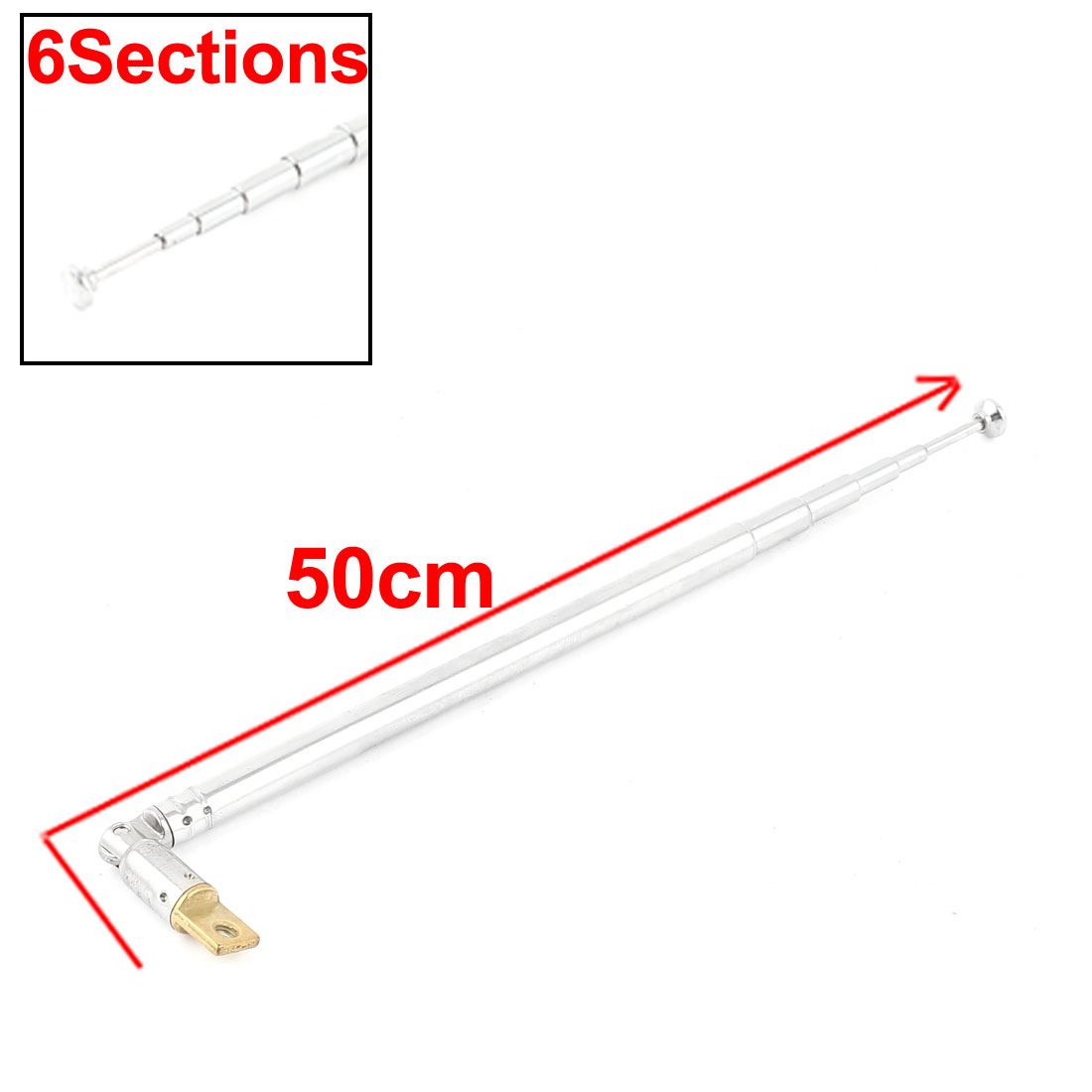 UXCELL Product Name Silver Tone Adjusting Angle Radio Telescopic Antenna 5 Sections 27Cm aerial | antenna