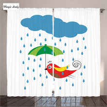 Curtains For Kids Living Room Rain Storm Clouds Cartoon Fish Umbrella Art Drops Wet Funny Bedroom White Red Blue 290x265 cm home