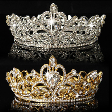 Elegant Lady Shiny Rhinestone Round Crown Tiara Wedding Pageant Bridal Headpiece