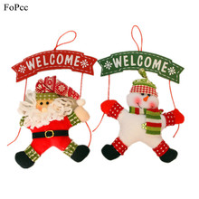 Christmas Ornament Santa Claus Snowman Hanging Garland Xmas Tree Door Hanger Decoration WELCOME Fabrics Plate Pendant Supplies(China)