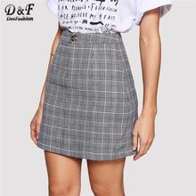 Dotfashion Grey Plaid Button A Line Tartan Skirt Women Casual Summer Above Knee