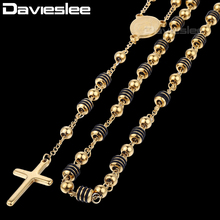 Davieslee Womens Mens Necklace Stainless Steel White Bead Rosary Chain Jesus Christ Cross Pendant DLKN434(China)
