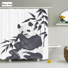 Shower Curtain Bathroom Accessories China Giant Panda Bear Zoo Chinese Painting Picture Black White 180*200 cm