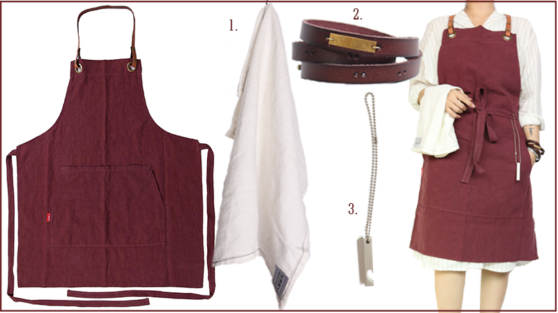 WEEYI Kitchen Cooking Red Linen Apron for Woman and Man with Leather Strap as Gift Size up to XXL Chef Bakers Painters Tablier (8)