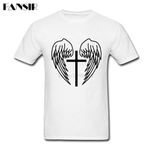 Digital Direct Printing Angel Wings Cross Great Tshirt Men Boy White Short Sleeve T-shirt Big Size(China)