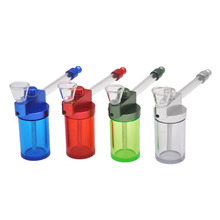 Portable 80MM MINI Shisha Hookha Glass Pipe All in One Smoke Glass Water Pipes Tobacco Herbal Holders water smoking pipe