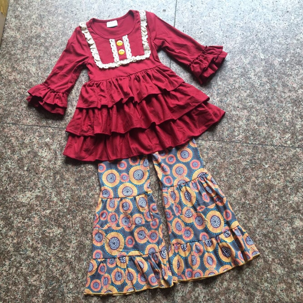 2017 New Fall Burgundy Children Sets Ruffle Butterfly Sleeves Infants Clothing Baby Girl Nursing Accessory Apparel Flare Pants<br>