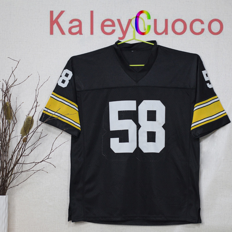 Retro star #58 Jack Lambert Embroidered Throwback Football Jersey M&N 48 50 52 54 56 Jerseys(China (Mainland))