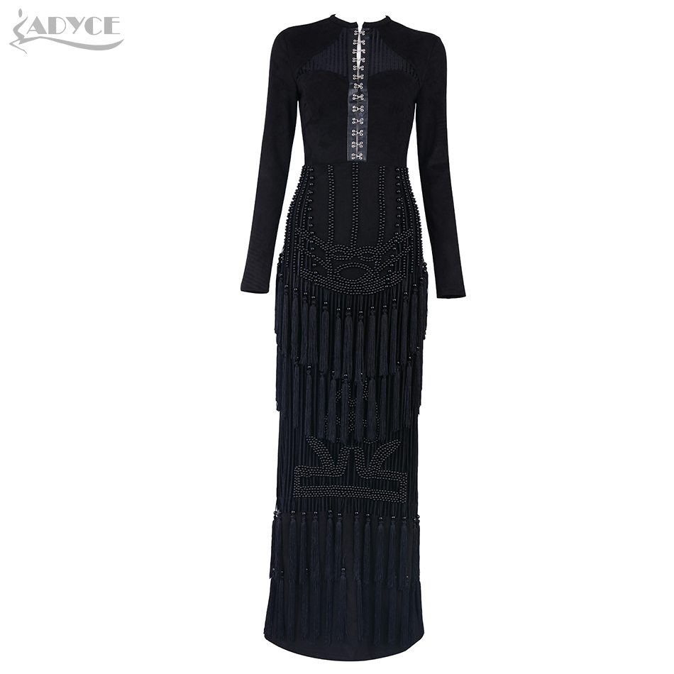Adyce 2019 New Spring Women Celebrity Evening Party Dress Sexy Black Long Sleeve Tassel Fringe Beading Maxi Club Bodycon Dresses