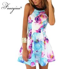 Buy FANCYINN Summer Boho Floral Printed Pleated Mini Dresses Women Sexy Sleeveless Halter Plus Size Beach Dress Casual Vestidos