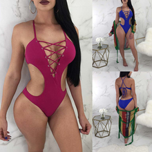 Buy 2018 One Piece Swimsuit Women Bath Suits Cross Bandage Bikini Push Swimwear Backless Beachwear Sexy Top Lace Bathing Suit