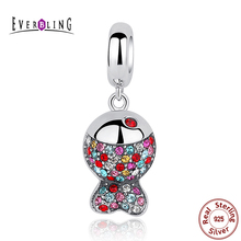 Preciosas Cristales Coloridos Peces Animales 100% 925 Sterling Silver Charm Beads Fit Pandora Charms Pulsera Europea