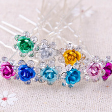 5pcs/pack Women Beauty Roses Crystal Hair Fork Accessories Wedding Bridal Flower Crystal Rhinestone Hair Pin