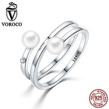 VOROCO 2017 Authentic 925 Sterling Silver Twisting Romance Natural Freshwater Pearl Rings for Women Ring Fine Jewelry VSR081(China)