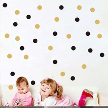 Gold Polka Dots Wall Sticker Baby Nursery Stickers Kids Golden Polka Dots Children Wall Decals Home Decor DIY