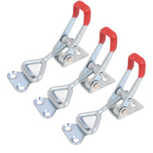 UXCELL 3 Pcs Plastic Cover Lever Door Button Type Metal U Nonslip Handle Triangle Shaped Lever Latch 100Kg 220 Lbs Toggle Clamp