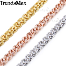 Trendsmax 7MM Snail Link Rose Gold Filled Necklace Chain Fashion Womens Mens Chain Unisex Bulk Sale Jewelry GN326