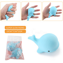 10CM Squishy New Blue Dolphin Slow Rising Cute Phone Straps Kawaii Whale key Chain Kid Toy Squeeze Soft Relieve Scented Fun Gift(China)